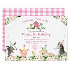Shop Pink Farm Animal Barnyard Floral Birthday Invitation created by LittlePrintsParties. Farm Party Invitations, 2nd Birthday Invitations, Print Your Own Invitations, Photo Invitations, Pink Invitations, Farm Animal Birthday, Farm Birthday, Girl 2nd Birthday, 1st Birthday Parties