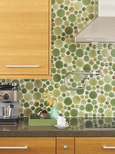 Green Backsplash Tiles - Design photos, ideas and inspiration. Amazing gallery of interior design and decorating ideas of Green Backsplash Tiles in dining rooms, bathrooms, laundry/mudrooms, kitchens by elite interior designers. Kitchen And Bath Design, Kitchen Colors, Kitchen Backsplash, Green Kitchen, Glass Kitchen, Funky Kitchen, Kitchen Designs, Kitchen Mosaic, Nice Kitchen