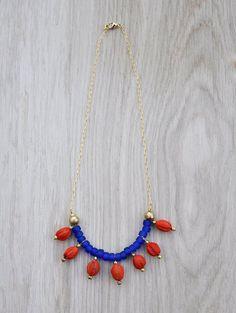 Fiona Necklace // Bib necklace / blue & red Statement necklace / Elegant jewelry / Boho tribal jewellery / Gypsy necklace on Etsy, $48.65