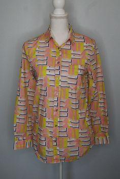 c4992f0fb17e {J Crew Factory} Womens Yellow Pink Geometric Button Down Shirt SIZE Small  #fashion