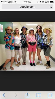 Tourist costumes lol: add map, disposable camera, fanny pack, white stuff on nose, floppy hat, socks and sandals, floral or destination shirt, khaki shorts, funky tan lines