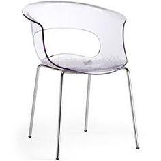 SalesFever Designer Stuhl Miss B Antishock 4 Legs mit Chrombeinen transparent