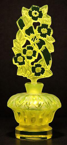 King Flower Garden Pesnicak Signed Uranium Perfume Bottle | eBay