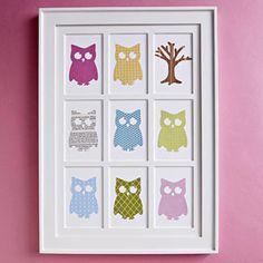 Adorable owl wall hanging craft w/tutorial. #scraps #paper #print #art #craft #owl #nature #child #nursery