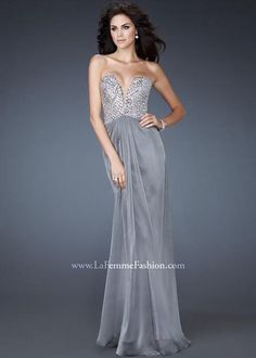 Grey Long V Neck Rhinestone Top Strapless Open Back Prom Dress 2014 [La Femme 18645 Grey] - $179.98 : Cheap Prom Dresses & Homecoming Dresses For Sale Online
