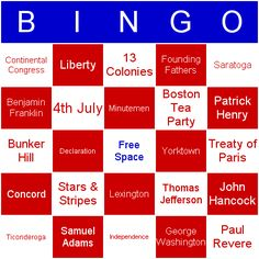 memorial day bingo cards