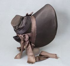 Silk traveling bonnet with provenance, c.1838, from the Vintage Textile archives.