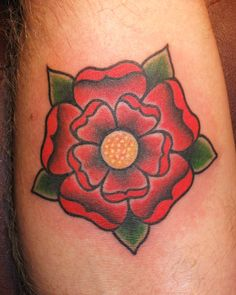 Traditional style Tudor rose tattoo