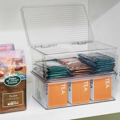 The durable, clear plastic Cabinet Binz Stackable Storage Box from InterDesign is designed as an organized storage solution that maximizes storage space. Combine multiple of these to have easy stackable boxes. Dollar Tree Organization, Freezer Organization, Kitchen Organization Pantry, Linen Closet Organization, Container Organization, Organization Hacks, Pantry Ideas, Stackable Storage Boxes, Ikea Pantry