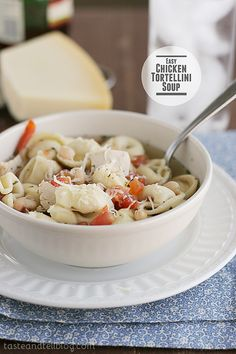 Easy Chicken Tortellini Soup | www.tasteandtellblog.com