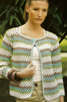 Granny Stitch Crochet Cardigan Pattern with colorful rows. More Great Patterns Like This