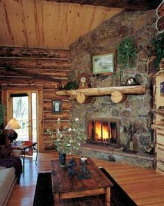 Country cabin fireplace