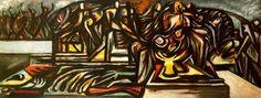 Untitled (Composition with ritual scene) c1938-1941 - Oil paint on canvas mounted on masonite  - University of Nebraska Sheldon Museum of Art Lincoln and the Nebraska Arts Association