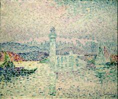 Le Phare à Antibes, huile de Paul Signac (1863-1935, France)