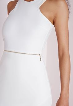 Missguided - Sleeveless Zip Waist Bodycon Dress Ivory