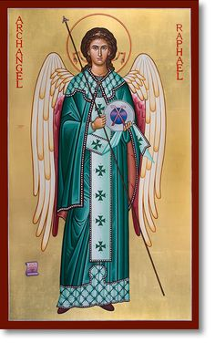 Monastery Icons: strengthening faith and encouraging Christian devotion in churches, schools, and individuals through a ministry of traditional Christian art. Religious Images, Religious Icons, Religious Art, Monastery Icons, Saint Gabriel, St Raphael, San Rafael, Religious Paintings, Queer Art