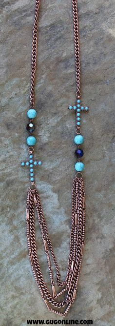 Long Copper Chain Necklace with Turquoise Crosses