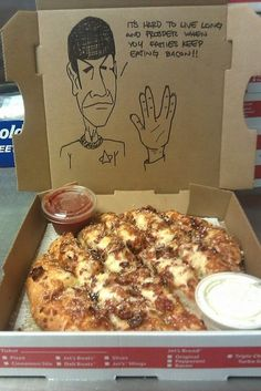 "at most large pizza chains you can make a ""special request"" and they'll draw whatever you want on the box!"
