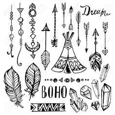 Vector set with tribal, indian, aztec, hipster, boho elements Ethnic Design, Bohemian Design, Bullet Journal Art, Bullet Journal Inspiration, Art Sketches, Art Drawings, Boho Theme, Doodles, Doodle Art