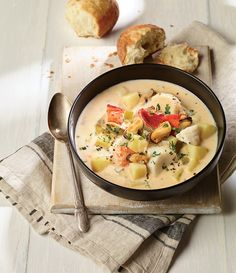 NOVA SCOTIA SEAFOOD CHOWDER: Chock-full of a variety of seafood, fish and vegetables, this rich soup is inspired by a similar chowder served at the Masstown Market, near Truro, N. Enjoy a hearty bowlful with Buttermilk Biscuits. Seafood Boil Recipes, Seafood Soup, Chowder Recipes, Soup Recipes, Seafood Dishes, Recipies, Canadian Living Recipes, Canadian Food, Fish Chowder