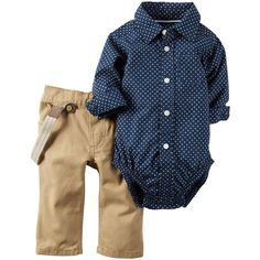 Baby Boy Carter's Navy Printed Bodysuit Suspender Khaki Twill Pants... ❤ liked on Polyvore featuring kids