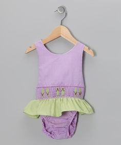 Take a look at this Purple Flip-Flop Sunsuit - Toddler & Girls by Sweet La Tea Da on #zulily today!