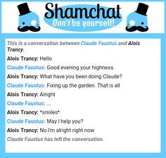 A conversation between Alois Trancy and Claude Faustus