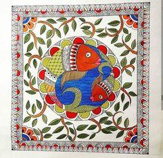 Items similar to Madhubani watercolour fish painting on Etsy Madhubani Paintings Peacock, Madhubani Art, Indian Art Paintings, Abstract Paintings, Oil Paintings, Gond Painting, Kerala Mural Painting, Fabric Painting, Painting Tips
