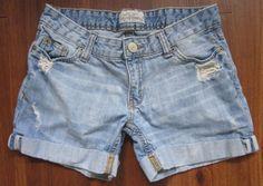 Aeropostale Womens Hgh Waisted Midi Shorts 0 Light Wash Cuffed Denim Blue #aeropostale #Jeanshortsdenimblue