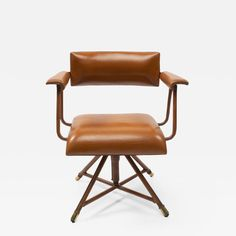 Jacques Adnet - A midcentury cognac leather swivel chair Leather Swivel Chair, Office Inspo, Four Legged, Side Chairs, Retro Vintage, Mid Century, The Originals, Furniture, Home Decor