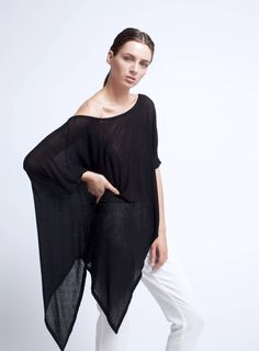 Oversized Asymmetric Top / Designer Tunic / Long Black Tunic / Loose Blouse / Long Shirt / marcellamoda - MB077