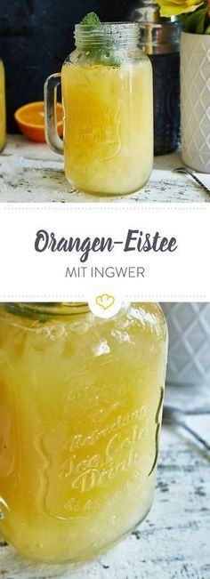 Orange and ginger iced tea- Orangen-Ingwer-Eistee Peach and lemon tea are delicious, but your mix is even more refreshing. The base: green tea with ginger, honey, orange and lemon juice. Smoothie Recipes, Smoothies, Tea Recipes, Summer Recipes, Jus D'orange, Oranges And Lemons, Snacks Für Party, Vegetable Drinks, Non Alcoholic Drinks