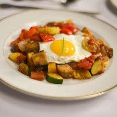 Remy's Ratatouille with Poached Eggs - zucchini, eggplant, yellow squash, sweet red pepper, red onion, chopped garlic, olive oil (would reduce), salt, pepper, thyme, canned crushed tomatoes, eggs
