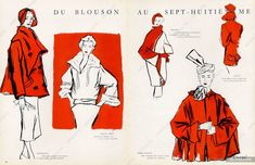 Durani illustration of Schiaparelli, Jacques Griffe, Bruyère, Paquin, Pierre Balmain designs. 1949