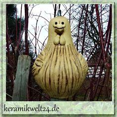 Zaunhocker Keramik Hahn, Zaunfigur, Pfostenhocker, Beetstecker Gartendekofigur