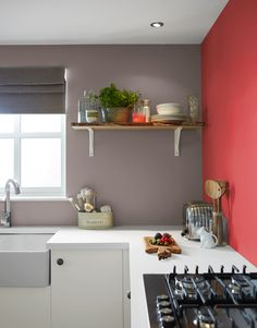 Kitchen Paint Ideas: 7 Stylish Ways To Update Your Space Quickly Kitchen Design Kitchen wall paint colors come in different shades and hues. While some homeowners consider them as merely aesthetic design elements, others believe t. Paint For Kitchen Walls, Kitchen Wall Colors, Space Kitchen, Kitchen Units, Red Wall Kitchen, Purple Kitchen Walls, Kitchen Ideas, Real Kitchen, Kitchen Storage