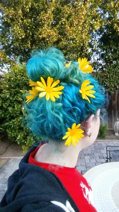 Blue dyed hair color