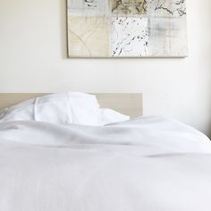 Fog & Moon 100% pure linen designer queen size duvet cover with ties. All natural materials and handmade. #bedroom #linen #naturalmaterials #white #designer #light #natural #minimal