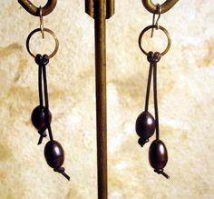 Freshwater Pearl and Leather Swing Earrings