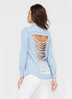 Breeze By Slashed Chambray Shirt LTBLUE - GoJane.com