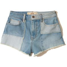 Hollister High-Rise Denim Vintage Shorts (€12) ❤ liked on Polyvore featuring shorts, bottoms, jeans, short, medium wash, vintage jean shorts, vintage high waisted shorts, high rise jean shorts, high waisted shorts and high-waisted denim shorts