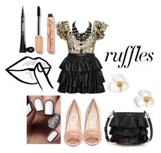 """""""Tamra"""" by afia-asamoah ❤ liked on Polyvore featuring STELLA McCARTNEY, Alexis, Nina, Henri Bendel, HUISHAN ZHANG, It Cosmetics, cocktail, ruffles, partylook and cutesylook"""