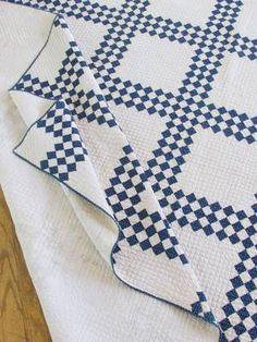 Densely Quilted Antique c1880s Indigo Blue White Quilt | eBay