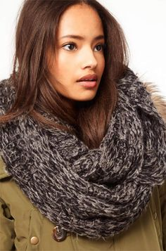 9 Chunky Knit Scarves for Winter: ASOS Textured Knit Snood. #Stylish365