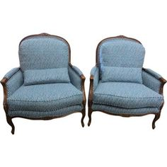 Check out this item at One Kings Lane! Henredon Striped Blue Bergères, Pair