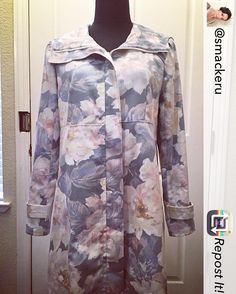 @smackeru shares her gorgeous Pepernoot coat! It turns to spring version with lovely floral! Thanks for sharing the photo. #sewing #naaien #wafflepatterns #ソーイング