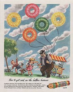 COOL Vintage 1944 LIFE SAVERS Candy Print Ad Candy Balloons