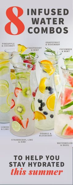 8 Infused Water Combos to Keep You Hydrated - Looking for some tasty and affordable drink ideas for parties this summer? Check out this post that includes how to make strawberry & basil water, as well as 7 other infused water combos to keep you hydrated! Healthy Water, Healthy Drinks, Healthy Recipes, Healthy Detox, Drink Recipes, Detox Recipes, Healthy Summer, Healthy Nutrition, Healthy Weight