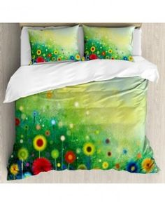 Abstract Art Duvet Cover Set Retro Dandelions with Pillow Sham(s)