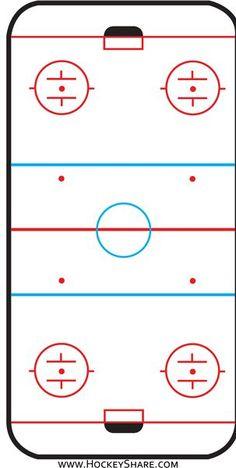 Hockey rink printable from www.hockeyshare.com.